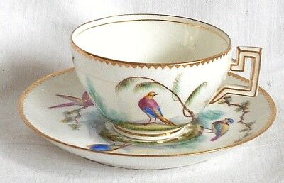 C19Th Copeland Hand Painted Cup And Saucer Decorated With Exotic Birds