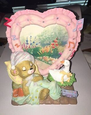 Heart Shaped Pastel Picture Frame w/Sleeping Bear, Goose on Nest, Radio, Music