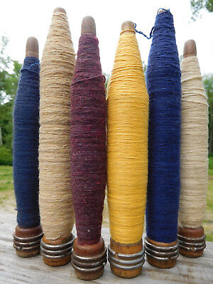 Vint./antique American Factory~Textile Weaving-Mill~6 Wood Spool Thread Spindles