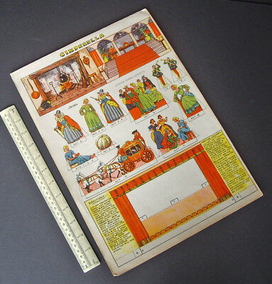1940s Vintage Cinderella Pantomime Proscenium & Characters Cut-Out Card Sheet