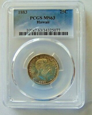 1883 Rare Kingdom  Hawaii Quarter - Pcgs Ms-63 - Pcgs Pop.only 345 In This Grade