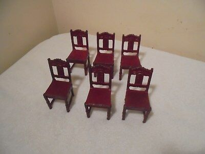 Antique Vintage Cast Iron Arcade Set of 6 Dollhouse Red Chairs