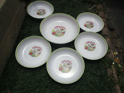"Vintage 11"" Large Pasta Spaghetti serving Bowl with 5- 8 1/2"" serving bowl set"