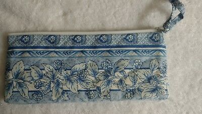 Longaberger Zippered make-up -Pencil- Catch All Pouch, blue with plastic lining