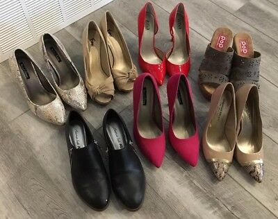7 Pairs Of Shoes Heels Flat Sandals Size 8.5 pop A.N.A Michael Antonio