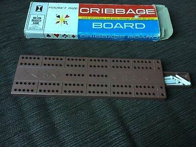 Dads vintage pocket size CRIBBAGE BOARD with 6 pegs in a storage drawer VGUC