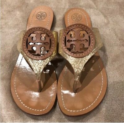 de8f2dc3471d Tory Burch Miller Metallic Gold Tumbled Leather Thong Sandal Flats 8 1 2M  EUC