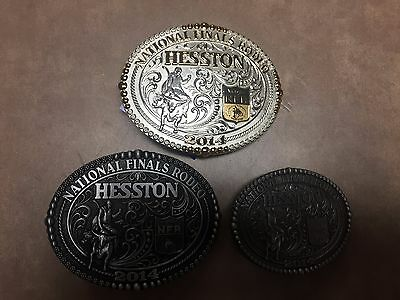 Set of 3 Hesston 2014 2 Tone & Pewter Rodeo (2) Adult & (1) Small Belt Buckles