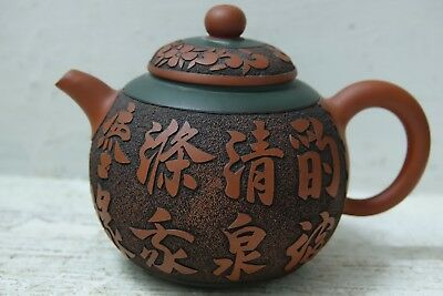 Ver Beautiful Chinese Yixing Teapot With Seal Marks & Carved Character Marks