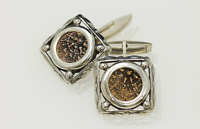 Sterling Silver Cufflinks with Genuine Coins from Ancient Judaea. w/Cert -009