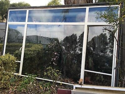 Original Old Steel Framed Casement Window With Fixed Centre Panel 268cm x 170cm