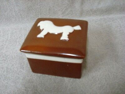 Vintage Royal Crown Ceramic Box with Art Deco Horse, Cover, Czecho-Slovakia