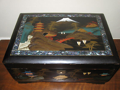 Lg Beautiful Vintage Oriental Musical Japanese Jewelry Box W/Pearl Abalone Inlay
