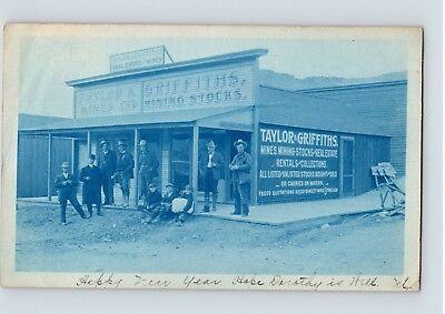 1906 marked POSTCARD TAYLOR & GRIFFITHS mine and mining stocks RHYOLITE NEVADA