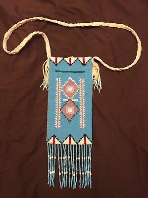 Native American Indian Beaded Pouch Bag Purse Medicine Teal Turquoise Fringe