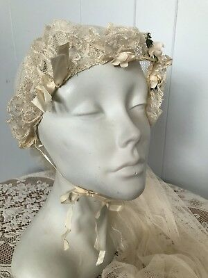 20s Wedding Veil White Net Lace Floral Flower Crown Rare Antique 1920s