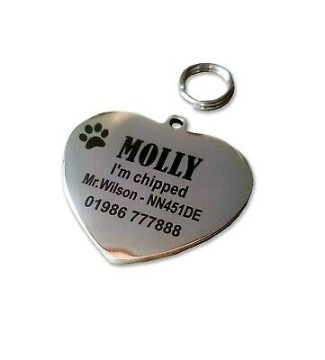 Dog pet ID tag heart shaped  stainless steel both sides laser engraved