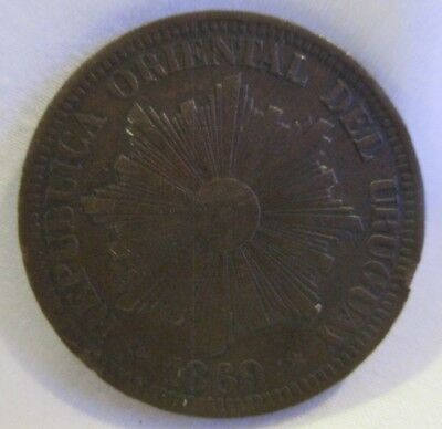 Uruguay 4 Centesimos 1869 Copper Coin Radiant Sun