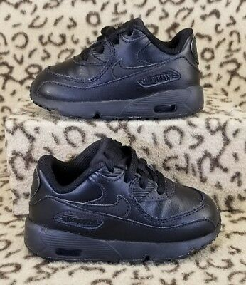 4da8fbc1f72e Nike Air Max 90 Baby Toddler Athletic Shoes Size 7C Black Leather 833416 001