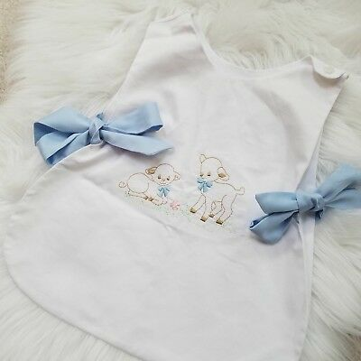 baby bib saver embroidered vintage ties bow lane kitschy kitsch Easter toddler