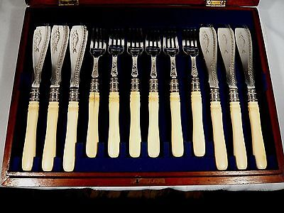 Antique Victorian WALKER & HALL Silverplate  24 piece FISH SET 12 Knives & Forks