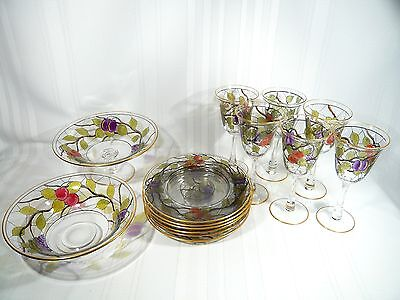 Antique Webb Corbett Enamel Wine Glasses / Dessert Set Plates Bowl Compote Masey