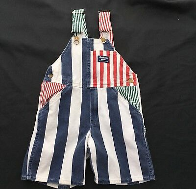 Vtg OSH KOSH B'GOSH Vestbak USA Denim Thick Stripe Railroad Bib Overalls Size 6