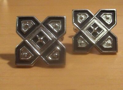 Men's Vintage Silver Tone and Black Tone Cufflinks