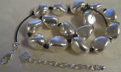 Vintage Nine West Art Deco Style Silver Plated Nugget Choker Necklace USA No.1