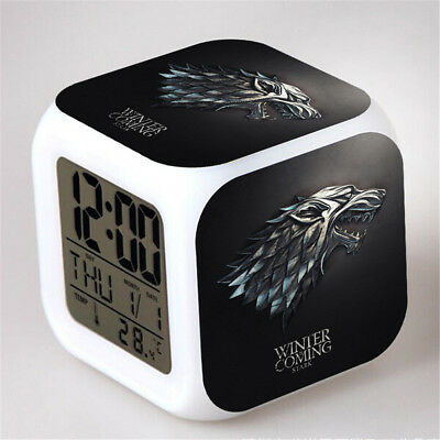 Game of Thrones 7 Color Change Alarm Clock LED Digital Glowing Night Light
