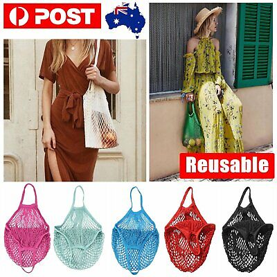 Mesh Net String Shopping Bags Cotton Eco Friendly Foldable Tote Reusable Grocery