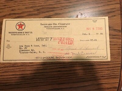 Vintage 1964 Texaco Cancelled Check, Winston-Salem, Nc