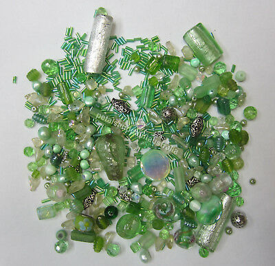 Mint & Green Bead Mix Foil, Glass, Silver Metal, Pearl Lampwork, Assorted Beads