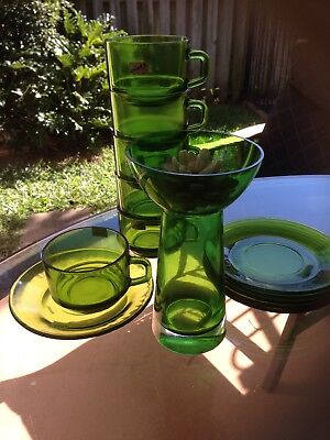 Set of 6 Tea of Coffee Green Glass Cups and Saucers And Candle Centrepiece