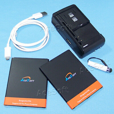 Accessory 2x 5280mAh Battery Wall Charger Cable for Samsung Galaxy Mega SPH-L600