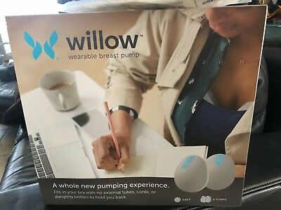 Willow Wearable Breast Pump W/ All Parts, Grey, Excellent Condition + 44 Bags