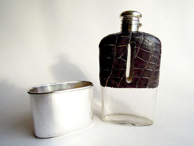Antique Hip Flask circa 1862 Silver plate Glass & Leather, THOMAS PRIME AND SONS
