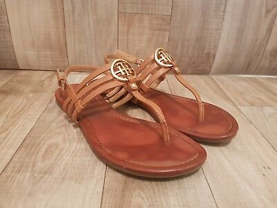 Tommy Hilfiger Womens Sandals Flip Flops Tan Gold Logo 1d64bd83a