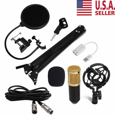 Condenser Microphone with Mic Suspension Scissor Arm Stand Shock Mount BM-800 US