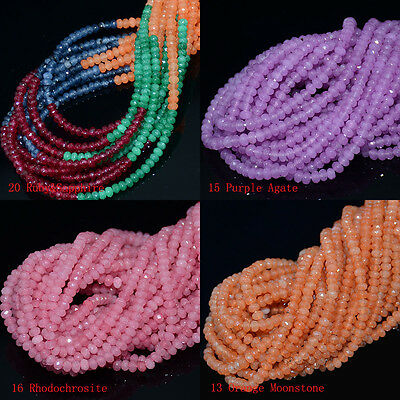 """Faceted Natural roundlle Gemstone Loose Beads 15 """" AAA New 2x4mm Multi-color"""