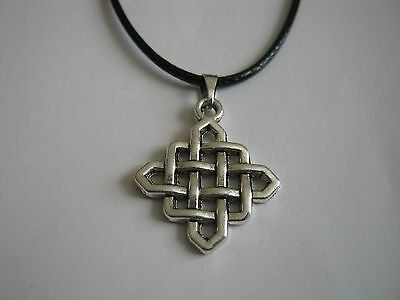 Wholesale 20 New Celtic Knot Design Pendant & Black Faux Leather 18inch Necklace