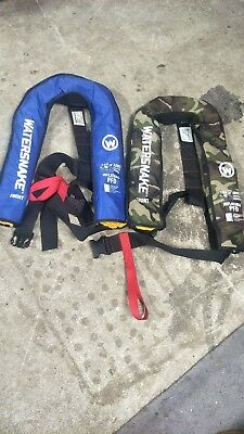 Watersnake Inflatable PFD Life Jacket Adult Level 150 Manual Blue & Camouflage