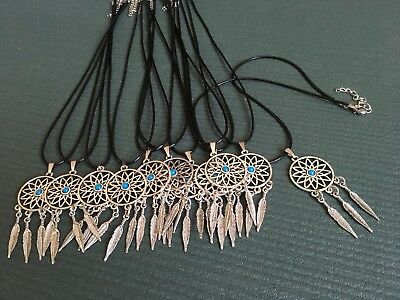 10 x  Dream Catcher Style Pendant & Black Faux Leather 18inch Necklace