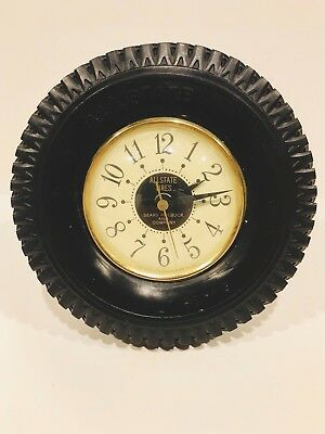 Vtg Allstate / Sears Roebuck Rubber Tire Advertising Clock By Sessions READ!