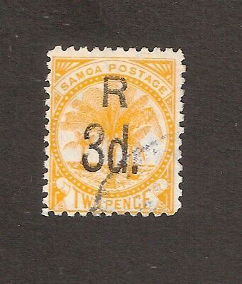SAMOA 1896 PALM TREES 3d/2d ORANGE-YELLOW SURCHARGED DEFINITIVE SG79 USED