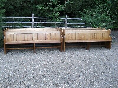PINE CHURCH PEW . Delivery possible. ALSO TABLES, DIFFERENT PEWS & MONKS BENCH.