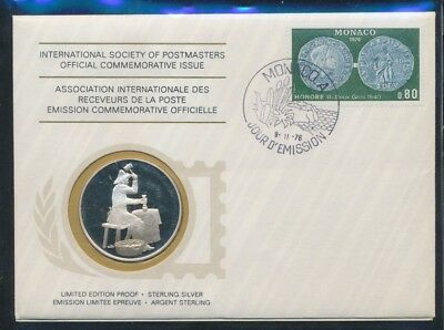 Monaco 1976 20g Sterling Silver Medal Commemoration of the 1st Coins Struck PNC
