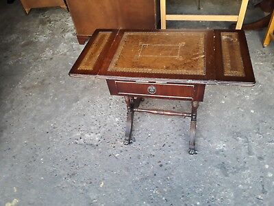 Mahogany Brown Leather Topped Sofa Table With Drop Leafs & 1 Drawer On Casters