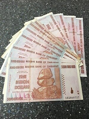 5 Billion Zimbabwe dollar banknote circulated aa / ab prefix
