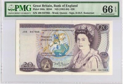 Great Britain,Bank of England, 20 Pounds, P380c, 1981-84, PMG 66EPQ